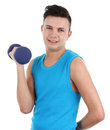 Guy with dumbell Stock Photos