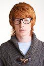 Guy in eyeglasses portrait of attractive sweater and Royalty Free Stock Photos
