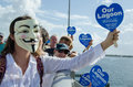 Guy fawkes hands across the lagoon at in melbourne fl on september th Stock Image
