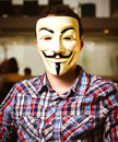 Guy fawkes mask a portrait of a man wearing a Royalty Free Stock Images