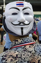 Guy fawkes mask with thai flag bangkok july anti government protestors supporting the white movement against corruption in the Stock Photography