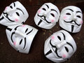 Guy Fawkes masks - Anonymous group members Royalty Free Stock Photo