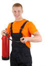 Guy with a fire extinguisher Stock Photography