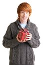 Guy with gift portrait of attractive redhead giftbox looking at camera Stock Photos