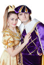 Guy and girl dressup as Prince and Princess isolated on a white Stock Photos