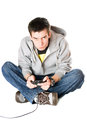 Guy with a joystick for game console. Isolated