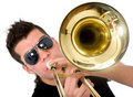 Guy playing a trumpet Royalty Free Stock Images