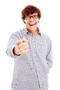 Guy pointing out and laughing Royalty Free Stock Photo