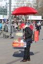 Guy selling bratwurst at alexanderplatz in berlin germany february february Stock Photo