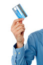 Guy showing credit card cropped image of a man holding debit Stock Images