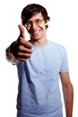 Guy showing thumb up gesture high contrast portrait of smiling latin young man with isolated on white background mask included Royalty Free Stock Images