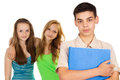 Guy student with friends her girlfriends Stock Photos