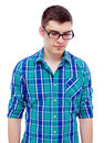 Guy with thoughtful look pensive young man in black glasses and checkered shirt isolated on white background mask included Stock Photos