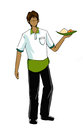 Guy in waiter uniform illustration cartoon on isolated background Stock Image