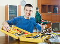 Guy  with working tools Royalty Free Stock Image
