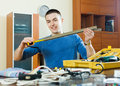 Guy with working tools Royalty Free Stock Photo