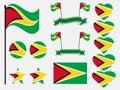 Guyana Flag set symbols, flag in heart. Vector Royalty Free Stock Photo
