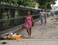Guyana, Georgetown: Sidewalk/Pedestrians in the City Center Royalty Free Stock Photo