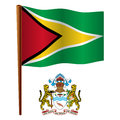 Guyana wavy flag and coat of arms against white background vector art illustration image contains transparency Royalty Free Stock Photography