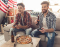 Guys at home Royalty Free Stock Photo