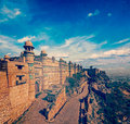 Gwalior fort vintage retro hipster style travel image of india tourist attraction mughal architecture with overlaid grunge texture Royalty Free Stock Photography