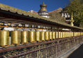Gyantsie kumbum tibet prayer wheels at the near palcho buddhist monastery in the town of gyantse in Royalty Free Stock Image