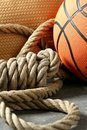 Gym corner, basketball ball and rope Stock Photo