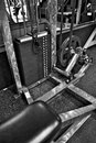 Gym exercise equipment weight selector black and white image of the or resistance on professional at a commercial Stock Photo