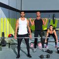 Gym group with weight lifting bar crossfit workout Stock Image