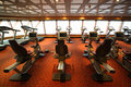 Gym hall with exercise bicycle in cruise ship Stock Images