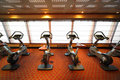 Gym hall with exercise bicycle in cruise ship Royalty Free Stock Image