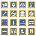 Gym icons set blue