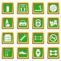 Gym icons set green