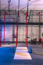 Gym nobody with barbells kettlebells and bars weightlifting gear Royalty Free Stock Photos