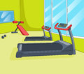 Gym room with trainers vector cartoon background eps Royalty Free Stock Photography