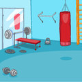 Gym room with trainers vector cartoon background eps Stock Photography