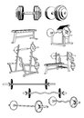 Gym set vector including ten objects related to equipment Stock Image