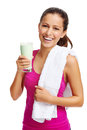 Gym shake woman Royalty Free Stock Photo