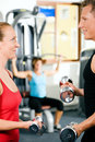 Gym training with dumbbells Stock Image