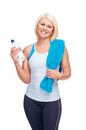 Gym water bottle workout fitness woman with to quench thirst Royalty Free Stock Photos