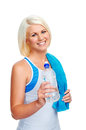 Gym water bottle workout fitness woman with to quench thirst Royalty Free Stock Images