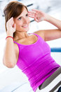 Gym woman doing abdominals Royalty Free Stock Photos