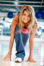 Gym woman ready to race Royalty Free Stock Photo