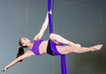 Gymnast beautiful woman performing aerial exercises Stock Image