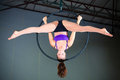 Gymnast beautiful woman performing aerial exercises Royalty Free Stock Photography