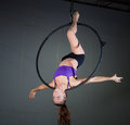 Gymnast beautiful woman performing aerial exercises Royalty Free Stock Images