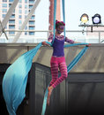 Gymnast cat on the rope woman with s makeup at circus festival in harborfront in may in toronto Stock Images