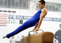 Gymnast on pommel Royalty Free Stock Photo
