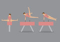 Gymnast woman on pommel horse and vault in pink leotard doing graceful gymnastics exercise moves set of three vector icons grey Stock Photos