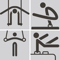 Gymnastics artistic icons summer sports set Stock Photography